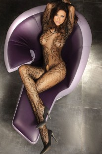 Sort heldekkende, bodystocking med blonde, bodystocking, Fransk apning