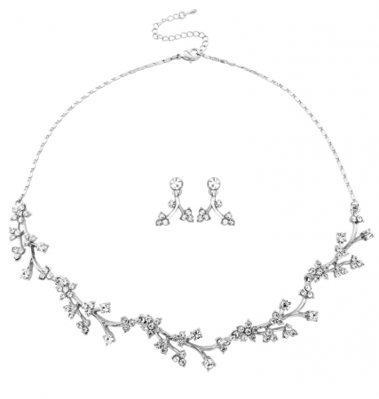 ATHENA COLLECTION - DAINTY CRYSTAL KJEDE OG ØREDOBBER  NK165 ABELONE.NO