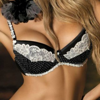 Sort Push-up BH med blonde og sorte prikker Vogue1 2312